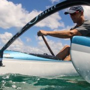 Jimmy paddling Ehukai OC1 outside of Outrigger Canoe Club in Waikiki
