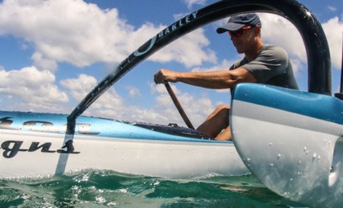 Jimmy paddling Ehukai OC1 outside of Outrigger Canoe Club in Waikiki